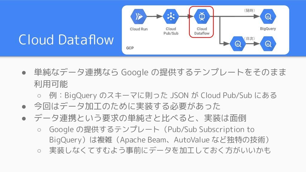 Cloud Dataflow ● 単純なデータ連携なら Google の提供するテンプレートをそ...