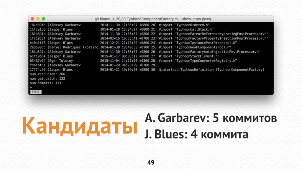 49 A. Garbarev: 5 коммитов J. Blues: 4 коммита ...