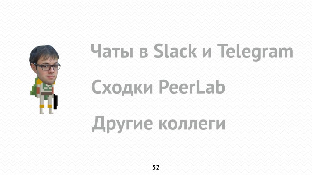 52 Чаты в Slack и Telegram Сходки PeerLab Други...