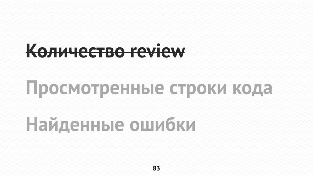 83 Количество review Просмотренные строки кода ...