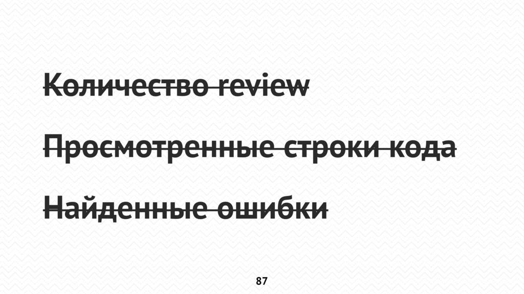 87 Количество review Просмотренные строки кода ...