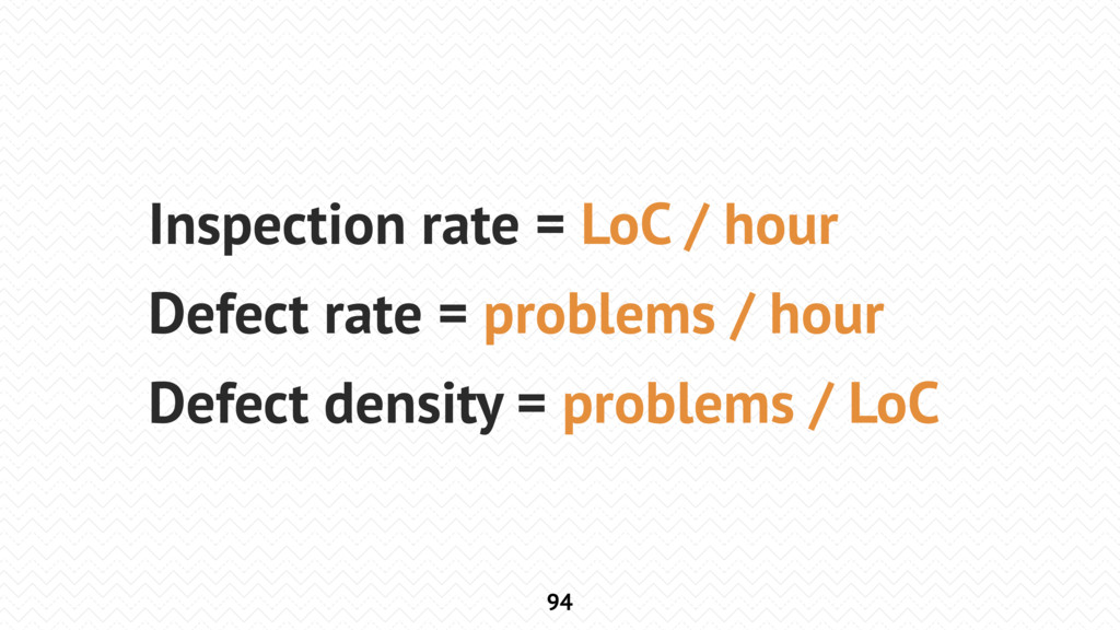 94 Inspection rate = LoC / hour Defect rate = p...