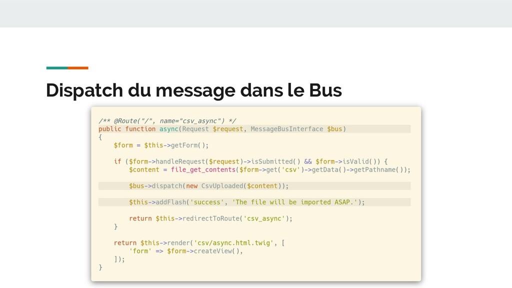 Dispatch du message dans le Bus