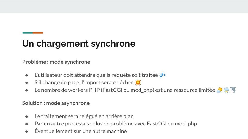 Un chargement synchrone Problème : mode synchro...