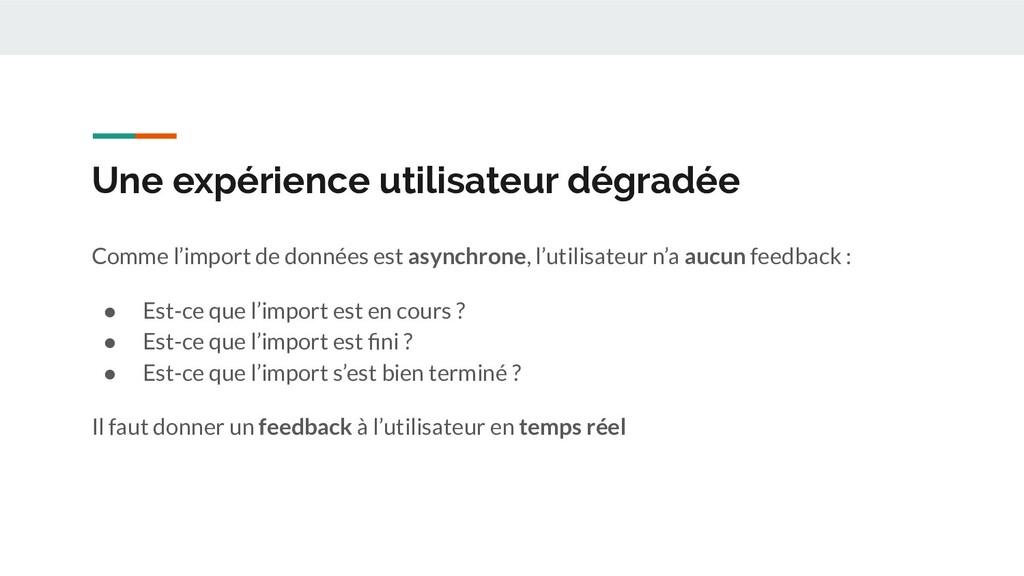 Une expérience utilisateur dégradée Comme l'imp...