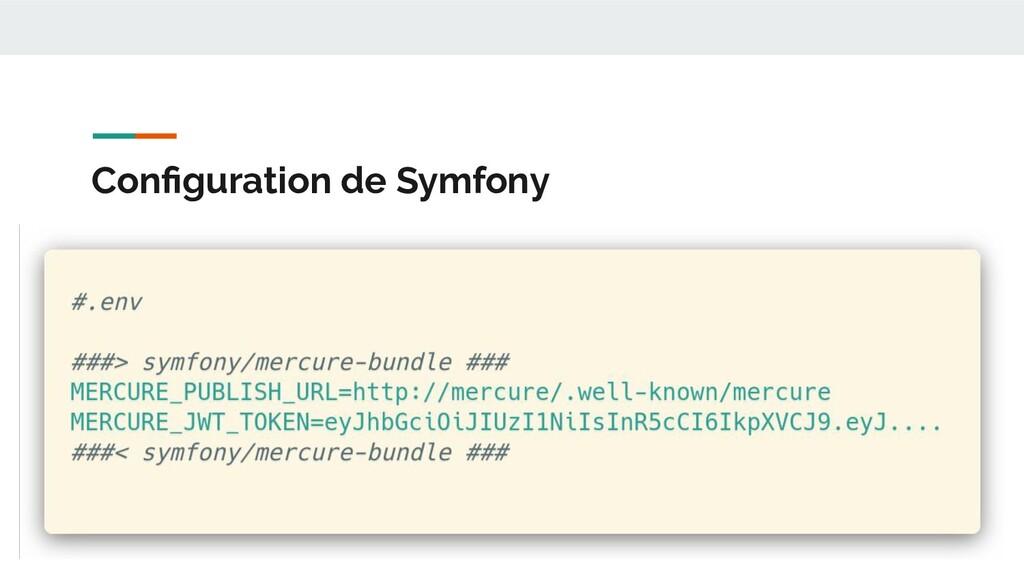 Configuration de Symfony