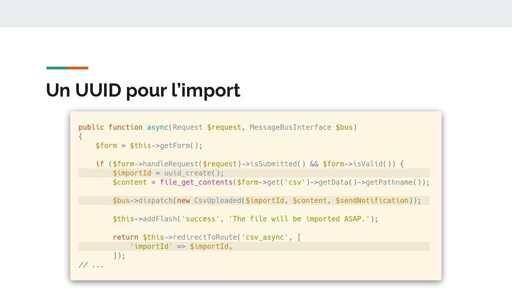 Un UUID pour l'import