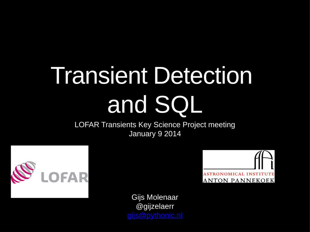 Transient Detection and SQL LOFAR Transients Ke...