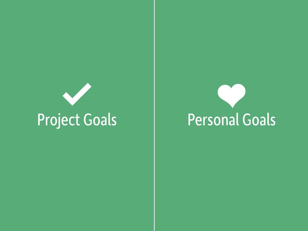 Project Goals Personal Goals