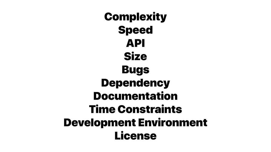 Complexity Speed API Size Bugs Dependency Docum...