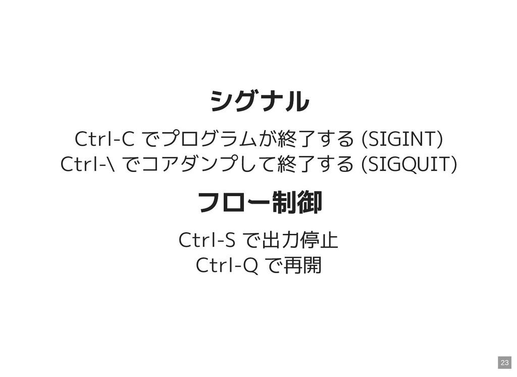 シグナル シグナル Ctrl-C でプログラムが終了する (SIGINT) Ctrl-\ でコ...