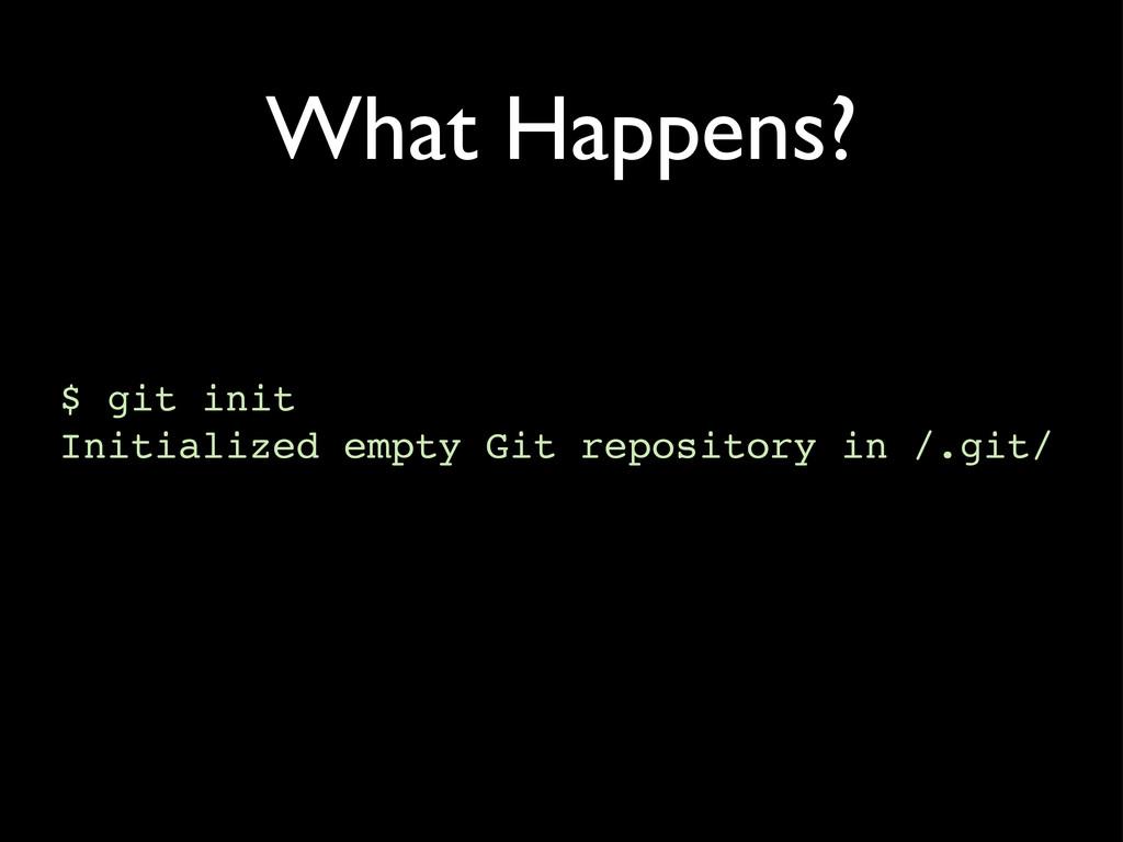 What Happens? $ git init Initialized empty Git ...