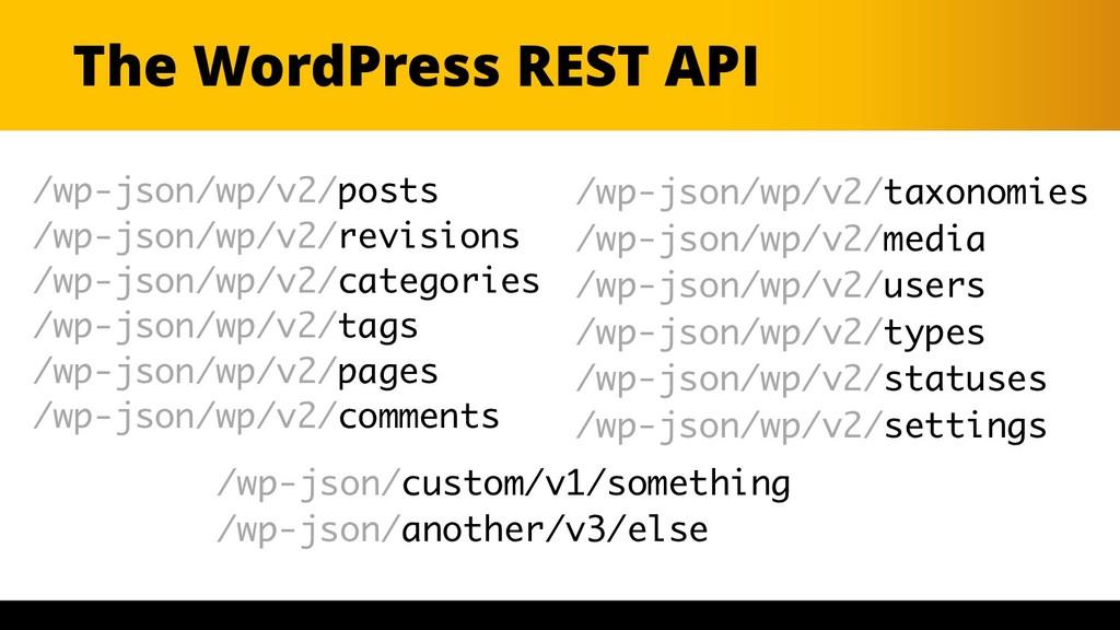 The WordPress REST API /wp-json/wp/v2/posts /wp...