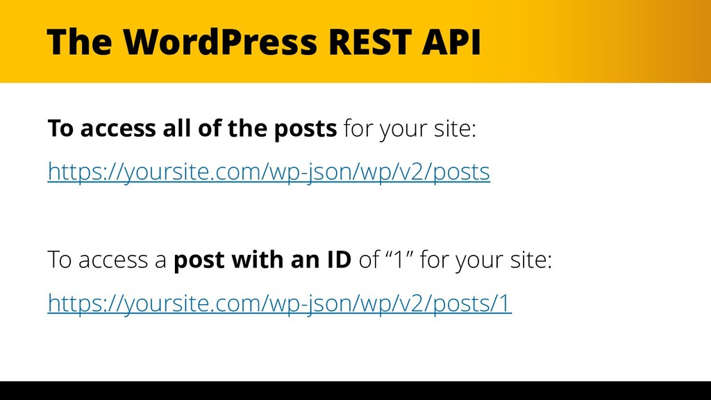 The WordPress REST API To access all of the pos...