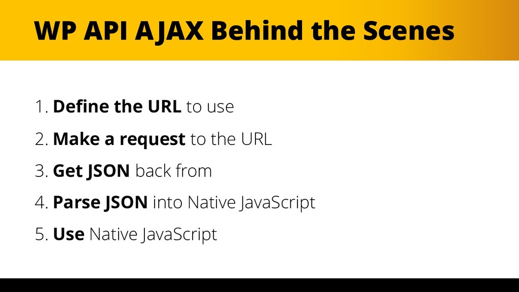 WP API AJAX Behind the Scenes 1. Define the URL...