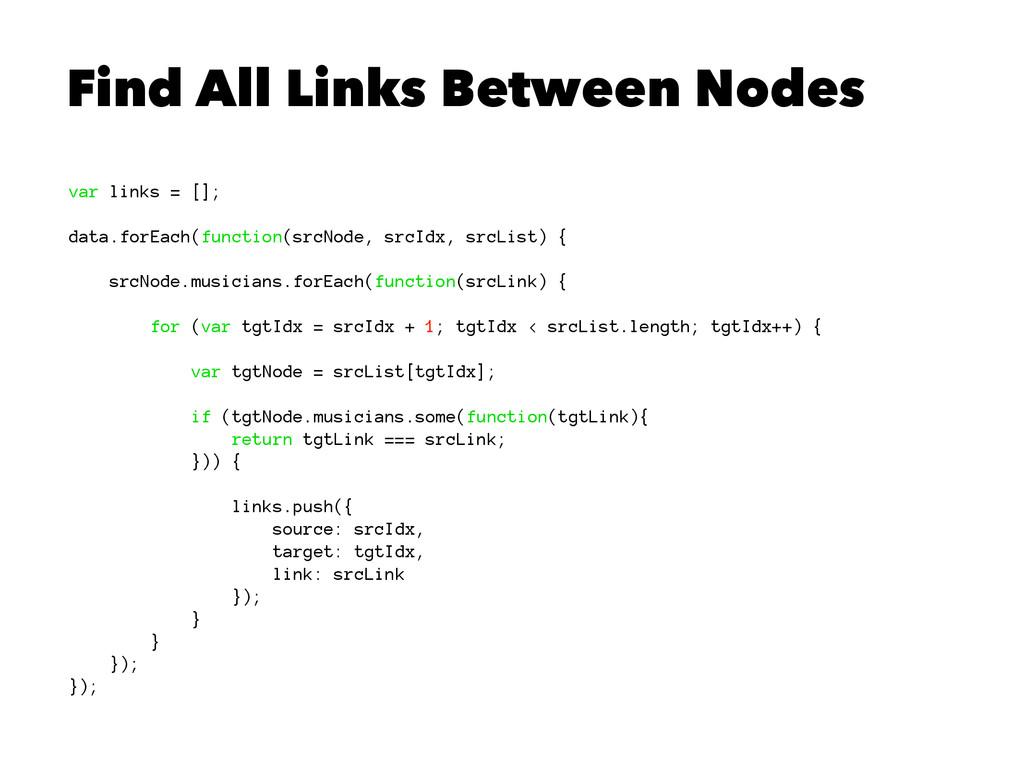 Find All Links Between Nodes var links = []; da...
