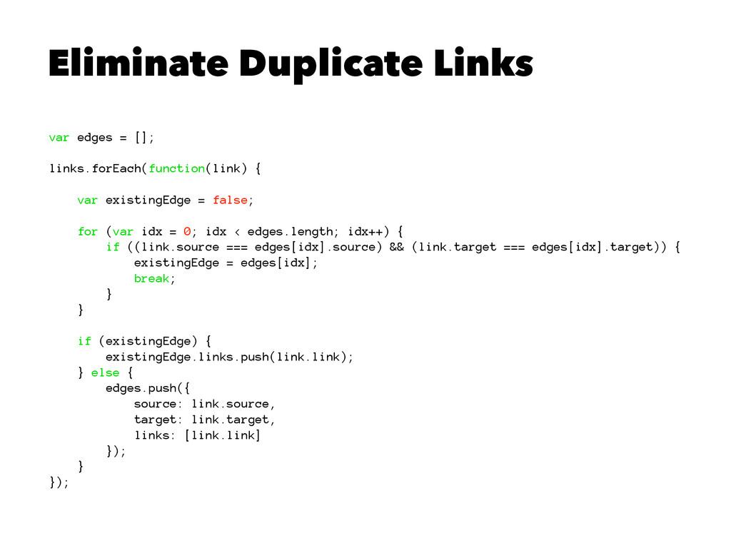 Eliminate Duplicate Links var edges = []; links...