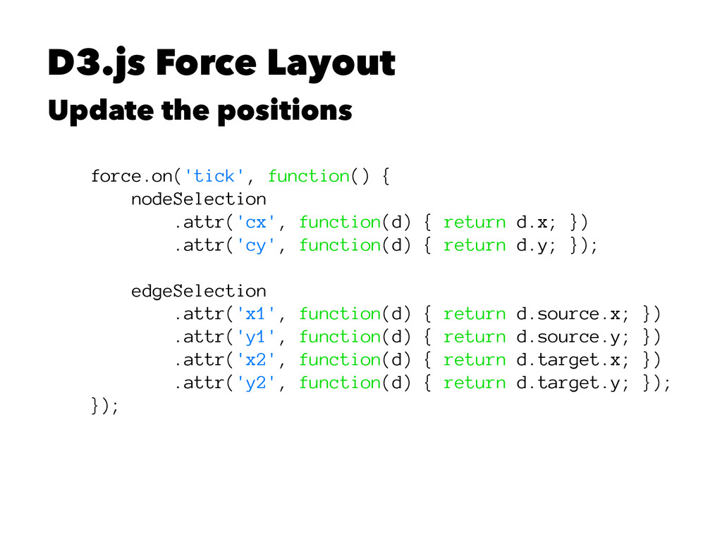 D3.js Force Layout Update the positions force.o...