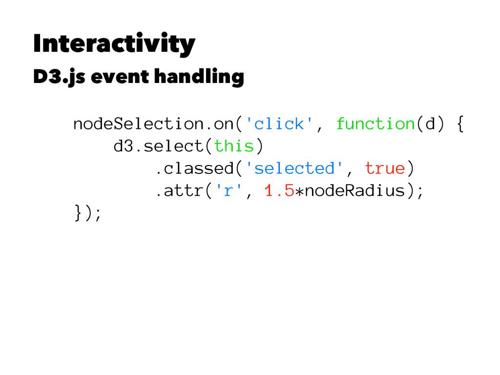 Interactivity D3.js event handling nodeSelectio...