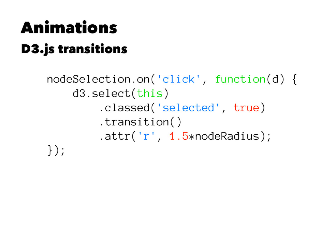 Animations D3.js transitions nodeSelection.on('...