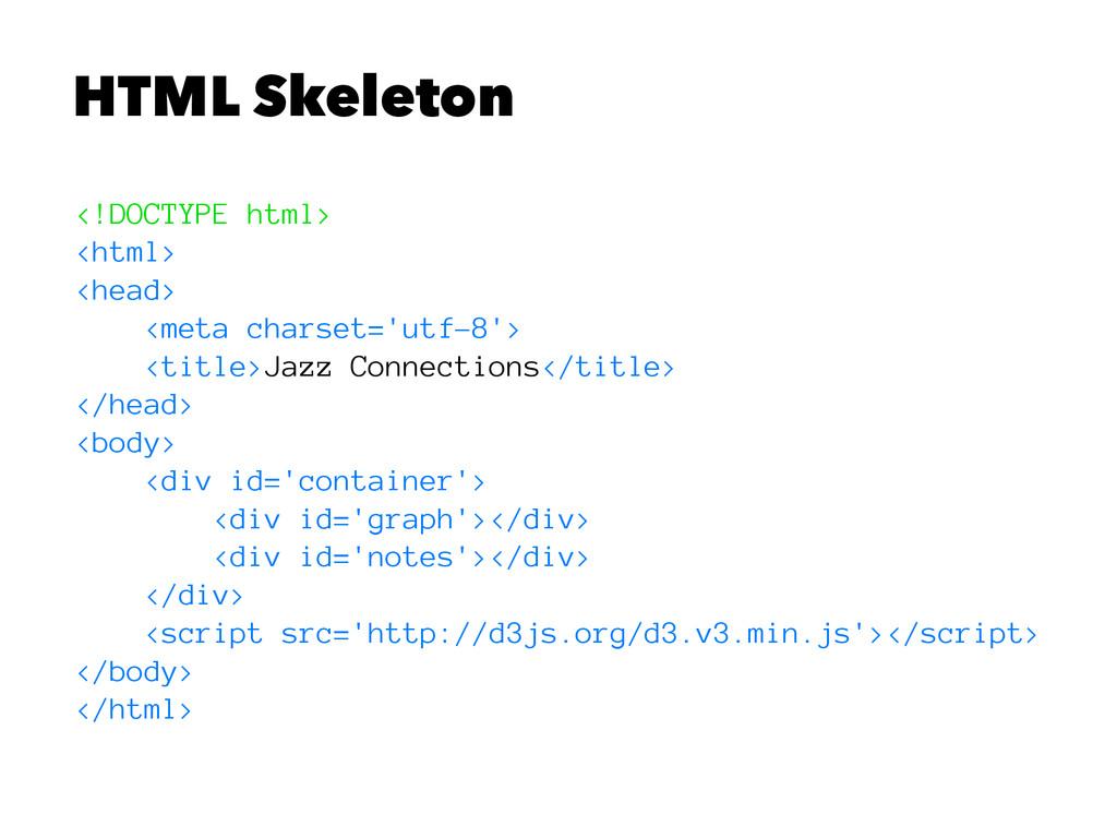 HTML Skeleton <!DOCTYPE html> <html> <head> <me...