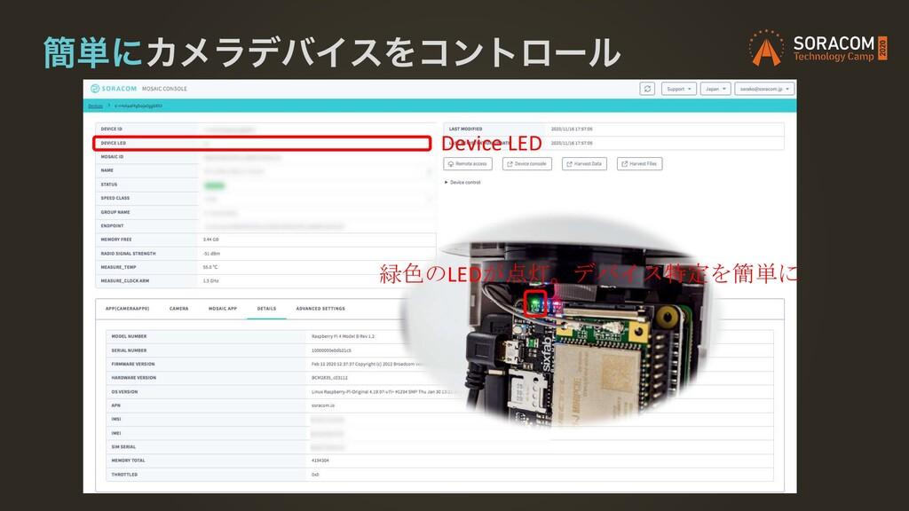 ؆୯ʹΧϝϥσόΠεΛίϯτϩʔϧ Device LED 緑色のLEDが点灯。デバイス特定を簡...