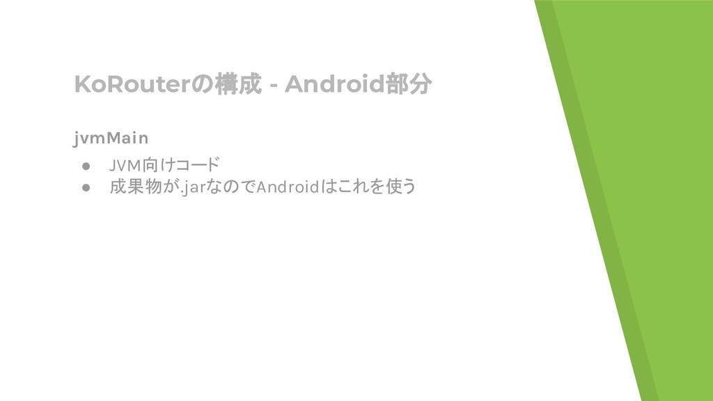 KoRouterの構成 - Android部分 jvmMain ● JVM向けコード ● 成果...