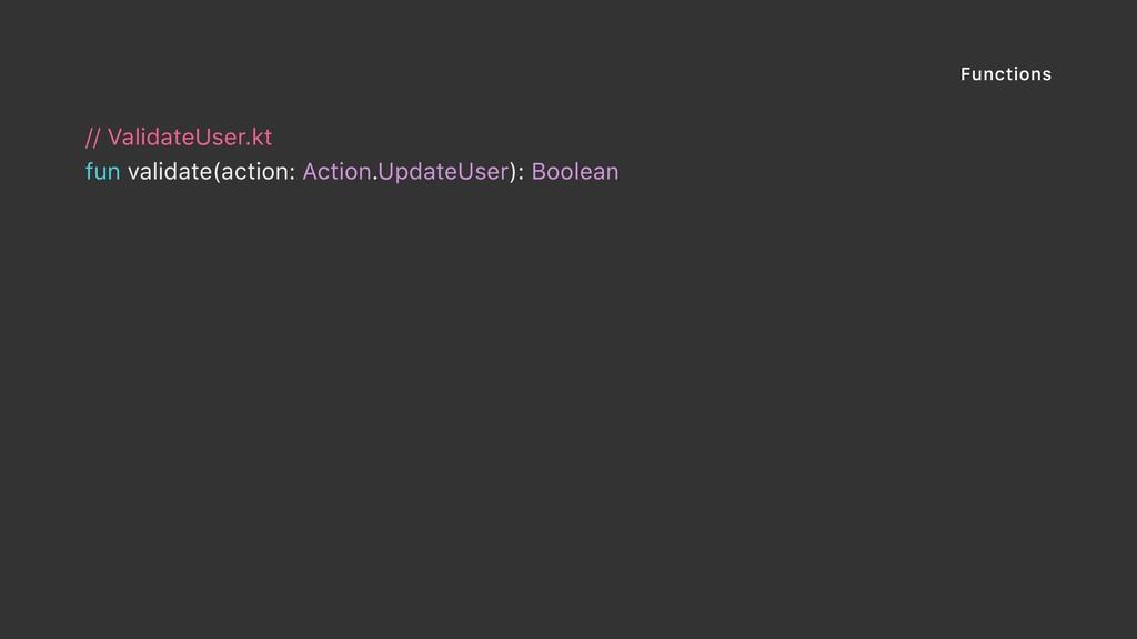 Functions // ValidateUser.kt fun validate(actio...
