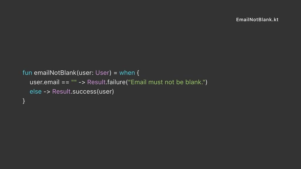 EmailNotBlank.kt fun emailNotBlank(user: User) ...