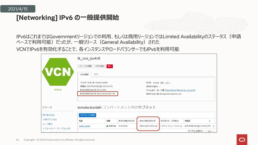 IPv6はこれまではGovernmentリージョンでの利用、もしくは商用リージョンではLimi...