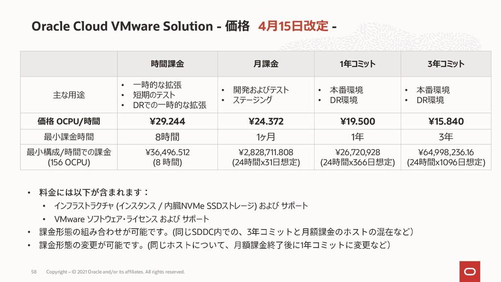Oracle Cloud VMware Solution - 価格 4月15日改定 - 時間課...