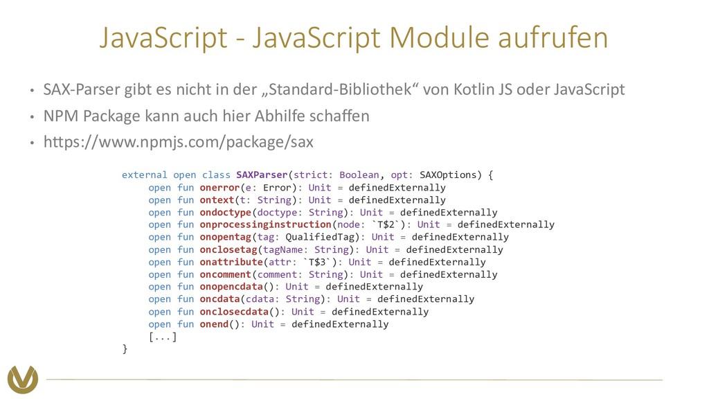 JavaScript - JavaScript Module aufrufen • SAX-P...