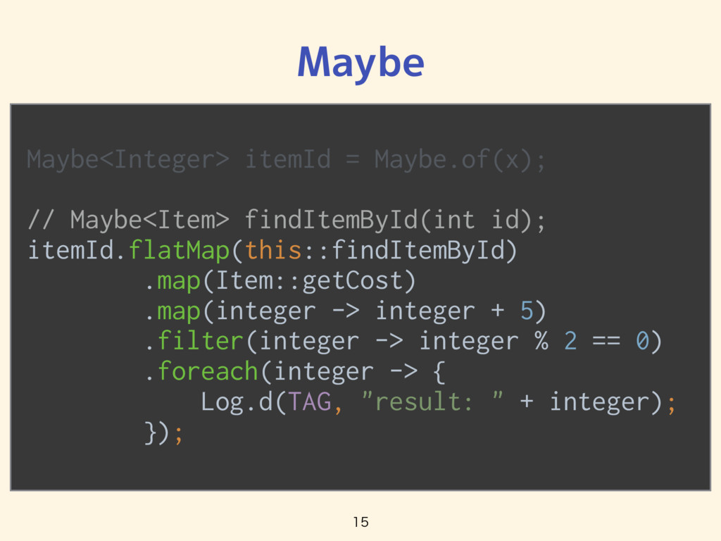 Maybe<Integer> itemId = Maybe.of(x); // Ma...
