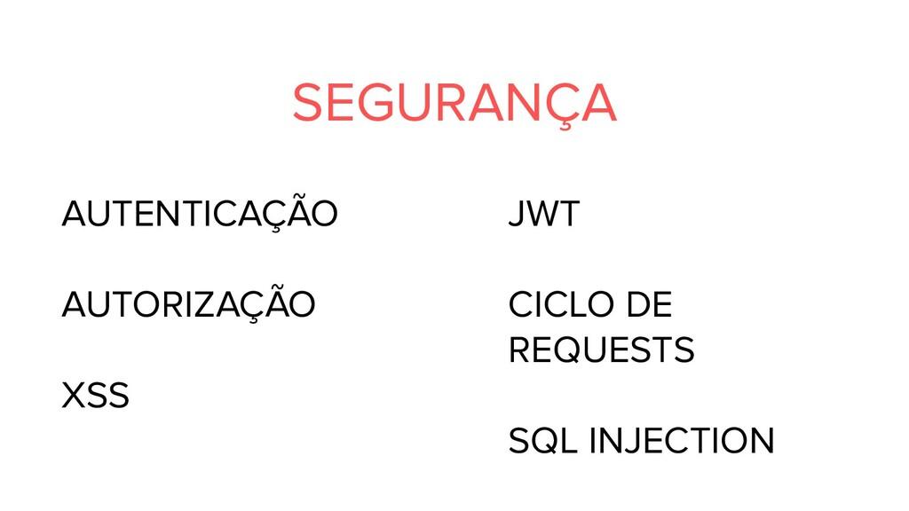 SEGURANÇA AUTENTICAÇÃO AUTORIZAÇÃO XSS JWT CICL...