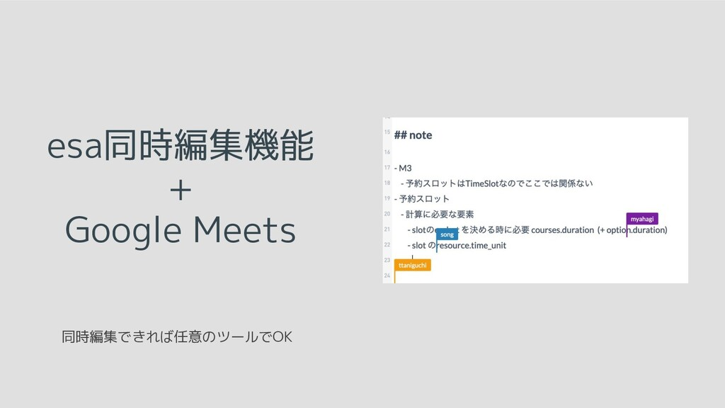 esa同時編集機能 + Google Meets 同時編集できれば任意のツールでOK