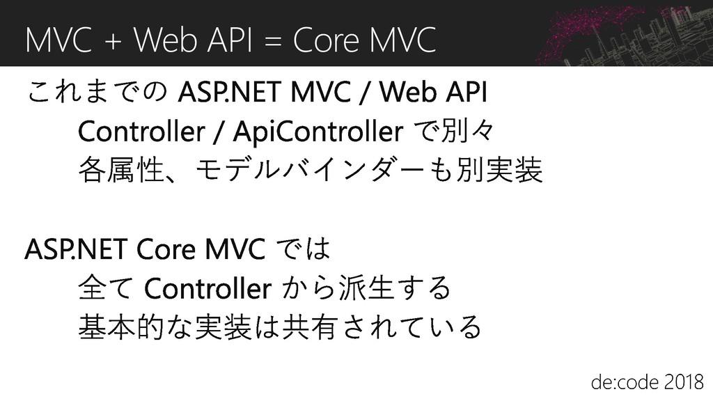 MVC + Web API = Core MVC
