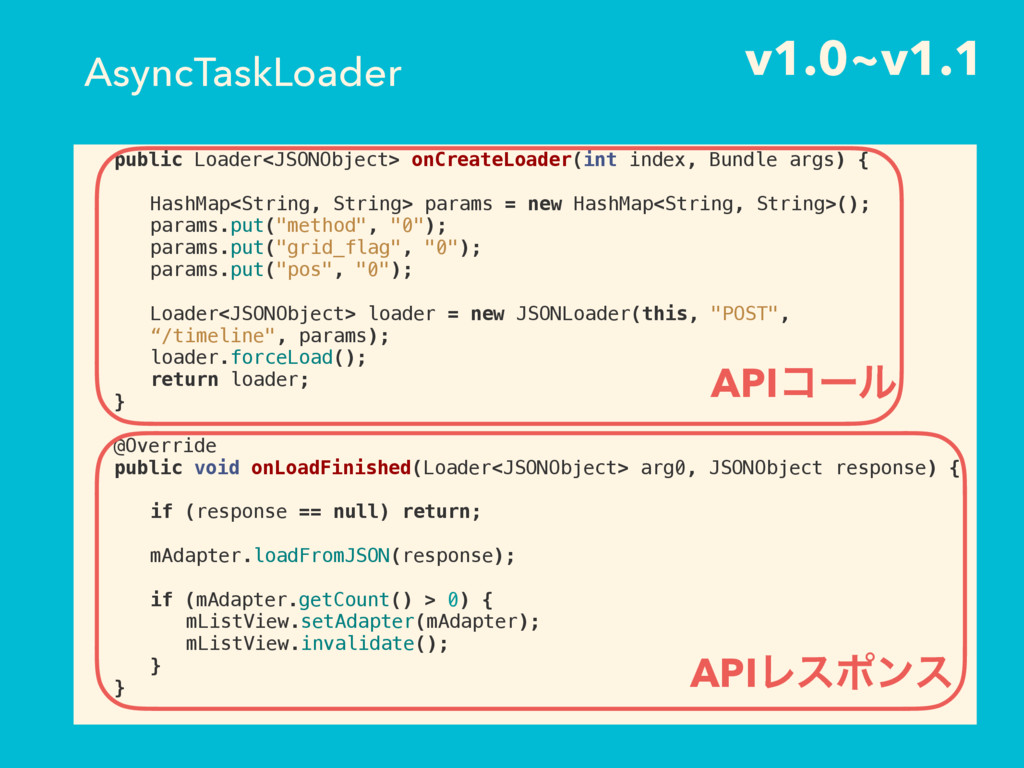v1.0~v1.1 public Loader<JSONObject> onCreateLoa...