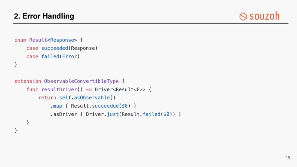 2. Error Handling enum Result<Response> { case ...