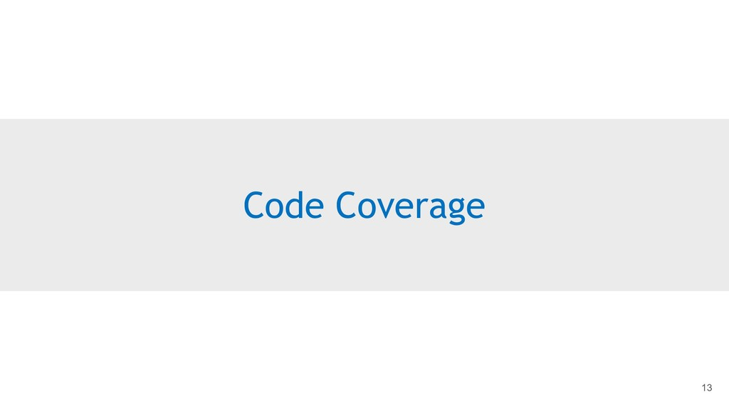 Code Coverage 13