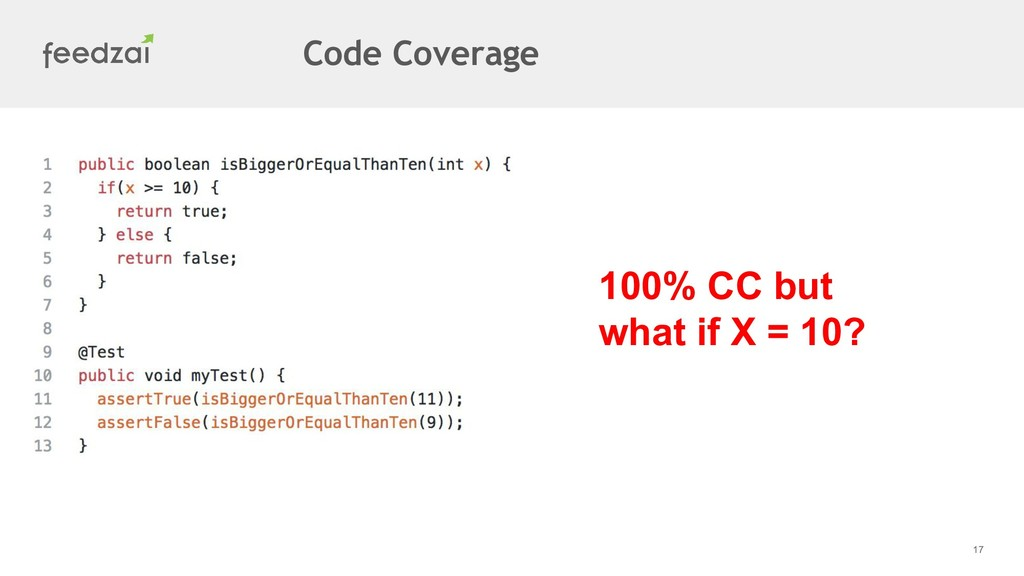 17 100% CC but what if X = 10? Code Coverage