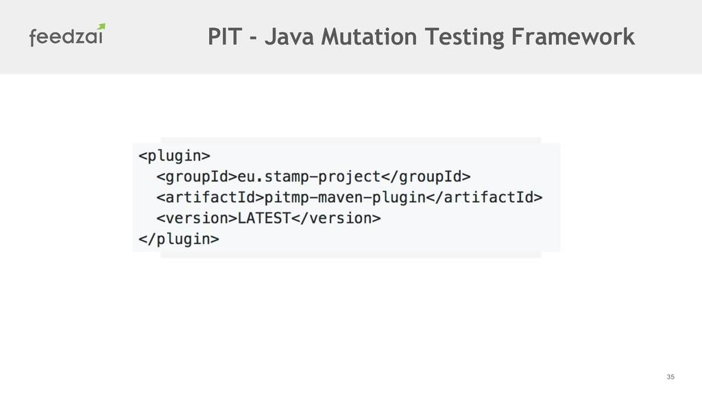 35 PIT - Java Mutation Testing Framework