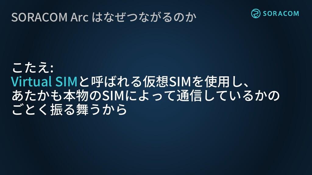 SORACOM Arc はなぜつながるのか こたえ: Virtual SIMと呼ばれる仮想SI...
