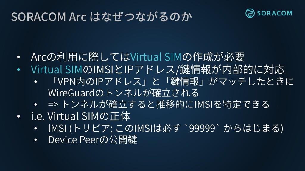 SORACOM Arc はなぜつながるのか • Arcの利用に際してはVirtual SIMの...