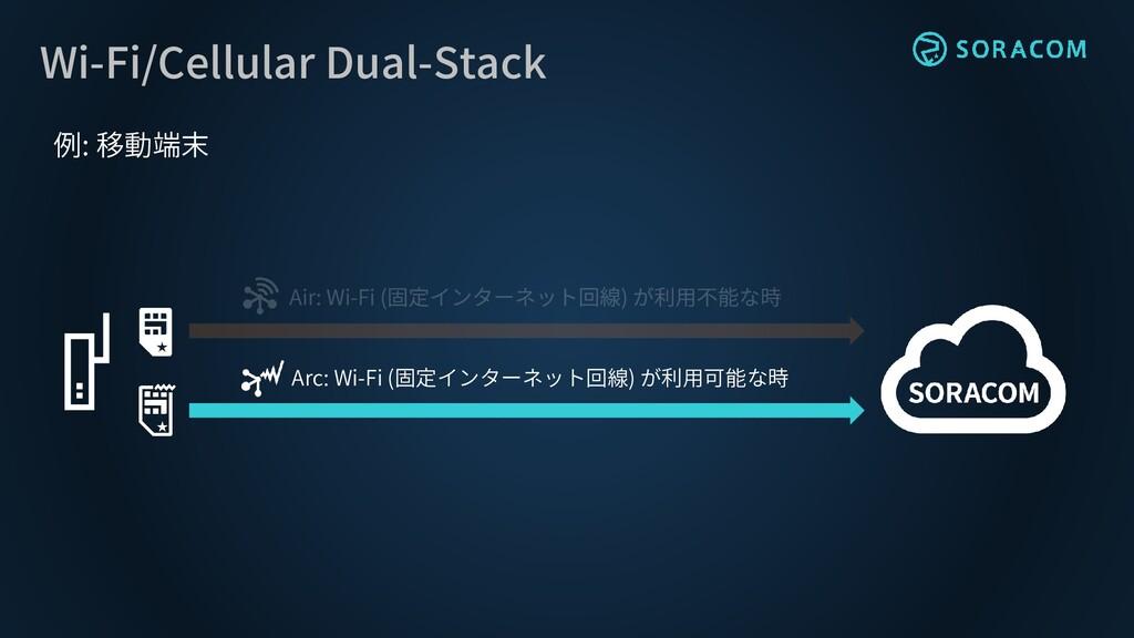 Wi-Fi/Cellular Dual-Stack 例: 移動端末 Arc: Wi-Fi (固...