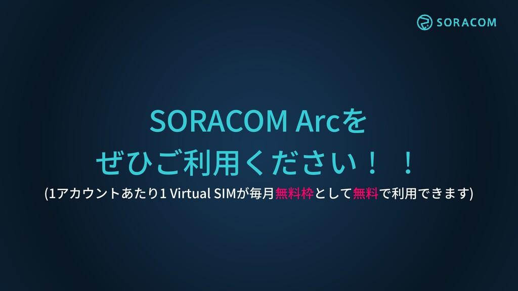 SORACOM Arcを ぜひご利用ください! ! (1アカウントあたり1 Virtual S...