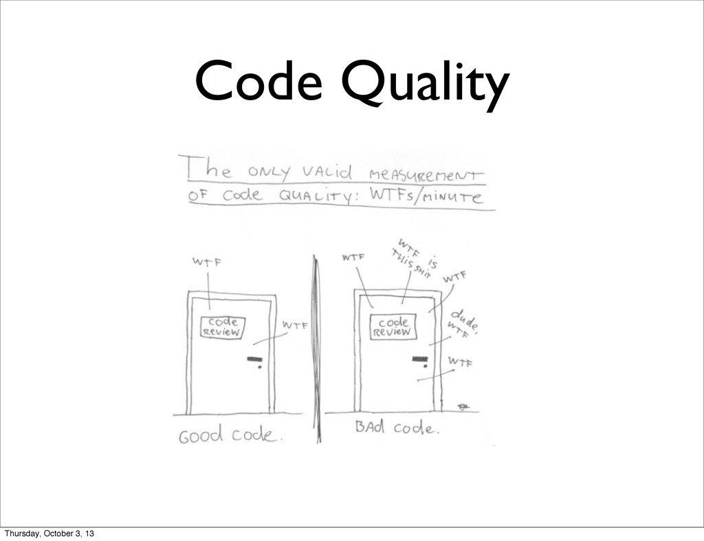 Code Quality Thursday, October 3, 13