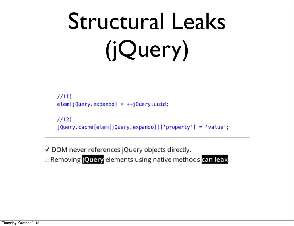 Structural Leaks (jQuery) Thursday, October 3, ...
