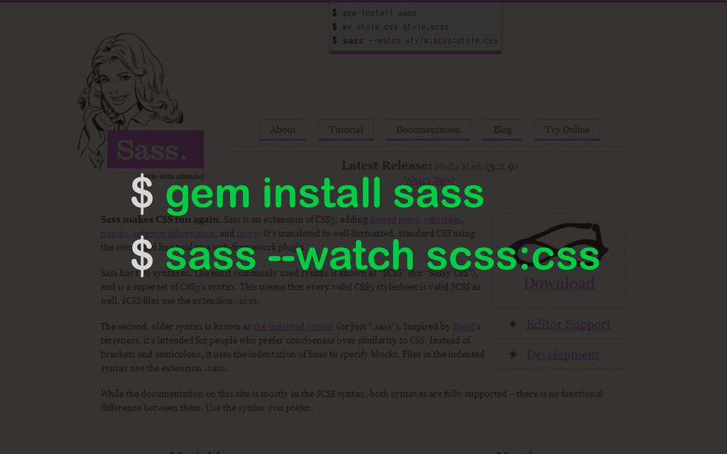 $ gem install sass $ sass --watch scss:css