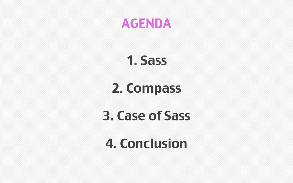 1. Sass 2. Compass 3. Case of Sass 4. Conclusio...