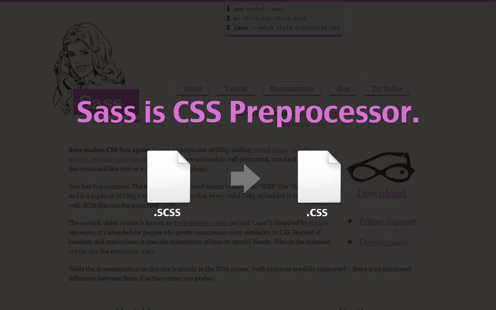 Sass is CSS Preprocessor. .scss .css